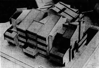 "Model of townhouse complex, 1855 Nelson Street; ""Memories Linger On,"" Vancouver Province, July 8, 1976, page 21."
