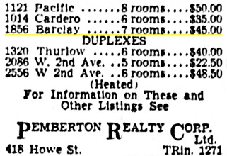 Vancouver Province, August 24, 1940, page 29, column 6 [selected portions of advertisement].