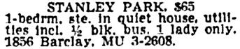 Vancouver Sun, June 2, 1962, page 37, column 4.