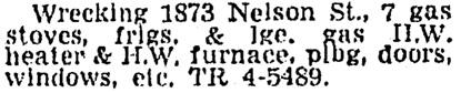 Vancouver Sun, March 1, 1962, page 44, column 4.