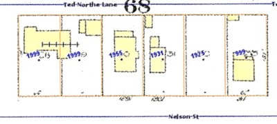 1900 block Nelson Street, north side; Vanmapp, City of Vancouver; http://vanmapp.vancouver.ca/pubvanmap_net/default.aspx. [Includes 1912 Goad's map of Vancouver and property addresses in 2019.]
