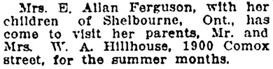 Vancouver Province, July 11, 1916, page 10, column 3.