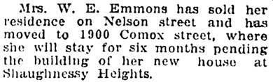 Vancouver Province, October 24, 1911, page 5, column 3.