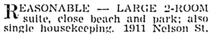 Vancouver Sun, November 27, 1940, page 20, column 3.