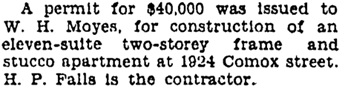 Vancouver Province, May 11, 1929, page 24, column 4.