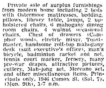 Vancouver Province, September 6, 1946, page 15, column 8.