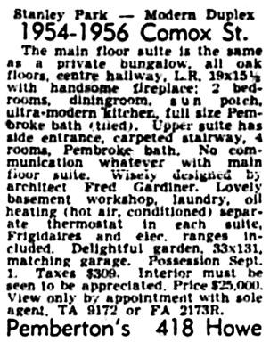Vancouver, Province, June 27, 1953, page 40, column 6.