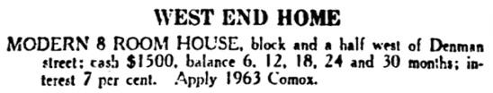 Vancouver Daily World, November 17, 1910, page 14, columns 1-2.