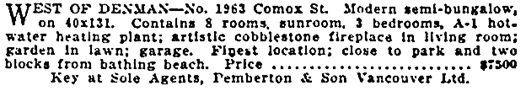 Vancouver Sun, May 11, 1929, page 25, columns 5-6.