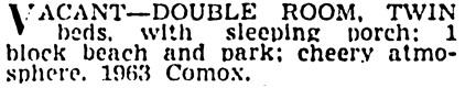 Vancouver Province, April 22, 1940, page 20, column 5.