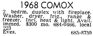 Vancouver Sun, October 19, 1972, page 68, column 5.