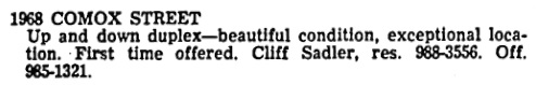 Crest real estate advertisement, Vancouver Sun, February 28, 1970, page 6, columns 2-3.
