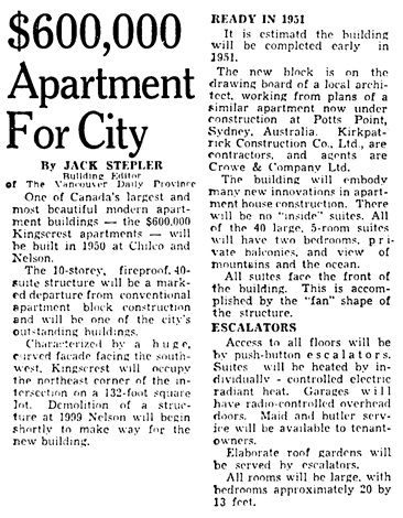 Vancouver Province, October 15, 1949, page 1, column 1.