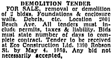 Vancouver Sun, April 29, 1959, page 50, column 2.