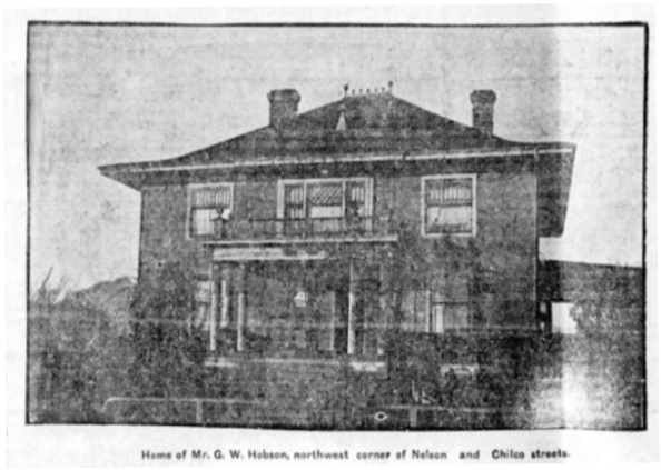 Home of Mr. G.W. Hobson, northwest corner of Nelson and Chilco Streets; Vancouver Province, Saturday, September 16, 1905, page 24, columns 2-4.