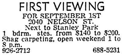 Vancouver Sun, August 1, 1972, page 40, column 4.