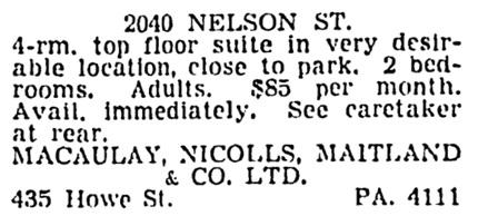 Vancouver Sun, April 24, 1953, page 43, column 2.
