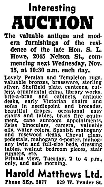 Vancouver Sun, November 11, 1939, page 26, column 1.