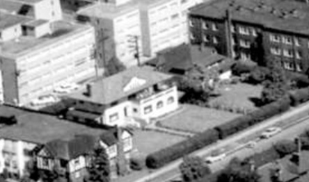 2045 Nelson Street; detail from West End from the air, 1962; Vancouver City Archives, Air P96; https://searcharchives.vancouver.ca/west-end-from-air.