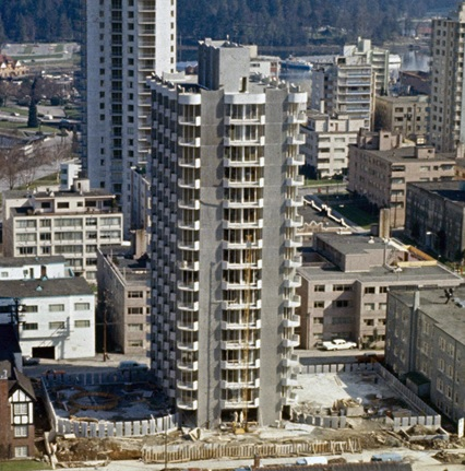 2045 Nelson Street, under construction, about 1966; detail from Northwest facing cityscape view of the West End; Vancouver City Archives, CVA 780-384; https://searcharchives.vancouver.ca/northwest-facing-cityscape-view-of-west-end.