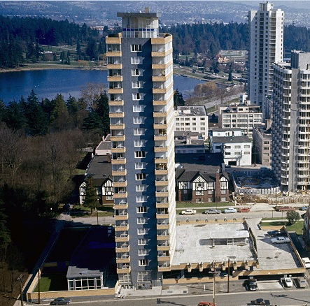 2050 Nelson Street, about 1966; detail from Northwest facing cityscape view of the West End; Vancouver City Archives, CVA 780-384; https://searcharchives.vancouver.ca/northwest-facing-cityscape-view-of-west-end.