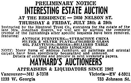 Vancouver Sun, July 16, 1960, page 47, columns 3-4.