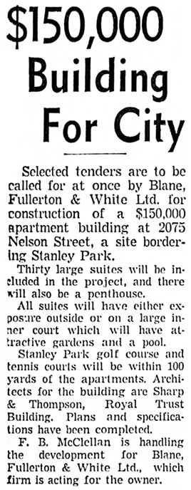 Vancouver Sun, March 26, 1938, page 1, column 1.