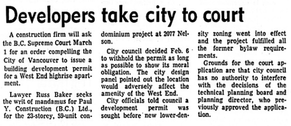 Vancouver Sun, February 17, 1973, page 35, columns 3-5.