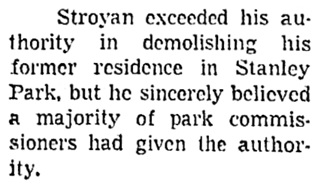 """Stroyan Exceeded Authority,"" Vancouver Sun, January 13, 1960, page 14, column 1."
