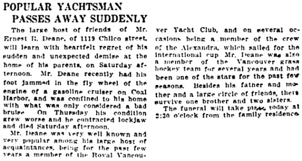 Vancouver Daily World, April 20, 1914, page 2, columns 5-8.