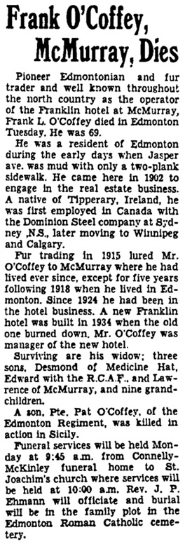 Edmonton Journal, February 14, 1945, page 9, column 6.