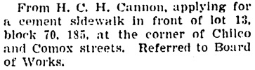 Vancouver Province, November 1, 1904, page 4, column 3.
