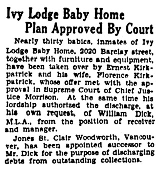 Vancouver Province, August 1, 1930, page 8, columns 3-4.