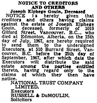 Vancouver Province, August 24, 1967, page 43, column 3.