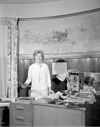 Miss Rina Biden in study, February 20, 1961, Vancouver Public Library, VPL Accession Number 42302; https://www3.vpl.ca/spePhotos/LeonardFrankCollection/02DisplayJPGs/508/42302.jpg.