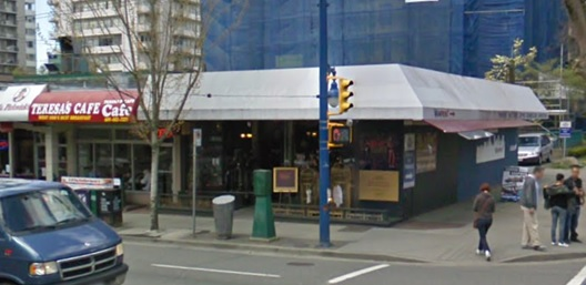 Southwest corner of Nelson Street and Denman Street; Google Streets; searched February 4, 2019; image dated April 2009.