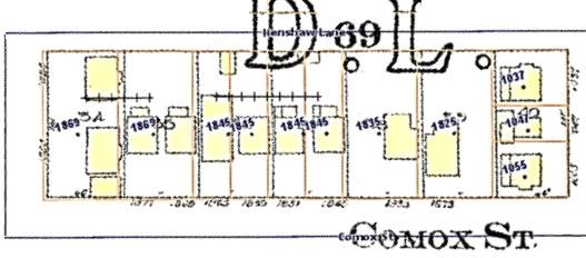 1800 Block Comox Street (north side), Vanmapp, City of Vancouver; http://vanmapp.vancouver.ca/pubvanmap_net/default.aspx. [Includes 1912 Goad's map of Vancouver and property addresses in 2019.]