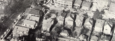 1800 block of Alberni Street (south side) and 700 block of Gilford Street (east side); about 1960; Vancouver: From Milltown to Metropolis, by Alan Morley; Vancouver, Mitchell Press, 1961, facing page 210; original photograph by George Allen Aerial Photos.