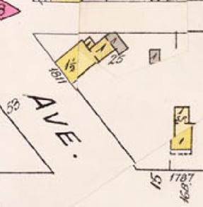 1811 Beach Avenue and location of 1801 Beach Avenue; detail from Insurance plan - City of Vancouver, July 1897, revised June 1903 - Sheet 45 - Comox Street to English Bay and Bidwell Street to Stanley Park.