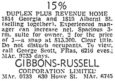 Vancouver Sun, October 13, 1951, page 41, column 7.
