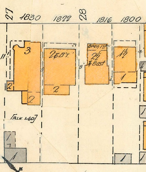 1830 Alberni Street, 1822 Alberni Street, 1816 Alberni Street, and 1800 Alberni Street, detail from Goad's Atlas of Vancouver, Volume 1, Plate 48 [Denman Street to Georgia Street to Chilco Street to Haro Street]; https://searcharchives.vancouver.ca/plate-48-denman-street-to-georgia-street-to-chilco-street-to-haro-street.