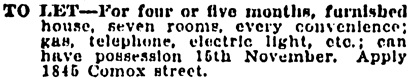 Vancouver Province, October 28, 1905, page 8, column 6.