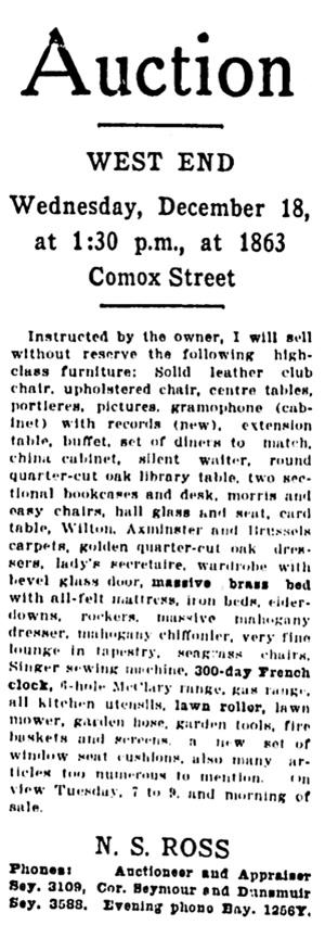 Vancouver Province, December 16, 1918, page 19, column 6.