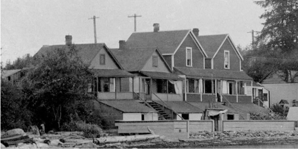 1882 Beach Avenue, 1878 Beach Avenue, 1872 Beach Avenue and 1868 Beach Avenue; about 1900; detail from English Bay beach, Vancouver City Archives, Be P5.2; https://searcharchives.vancouver.ca/english-bay-beach-3.