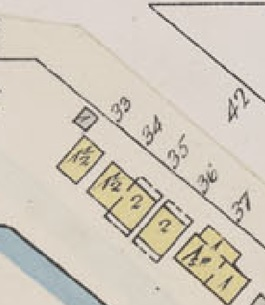 1882 Beach Avenue, 1878 Beach Avenue, 1872 Beach Avenue and 1869 Beach Avenue, detail from Insurance plan, City of Vancouver, July 1897, revised June 1901, Sheet 45, Comox Street to English Bay and Bidwell Street to Stanley Park.