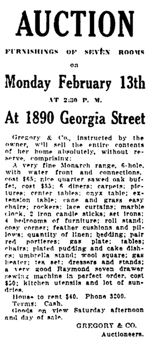 Vancouver Daily World, February 9, 1911, page 13, column 2.