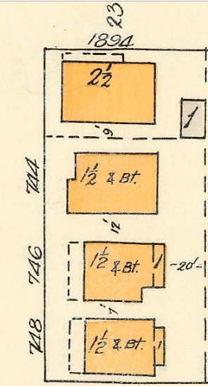 1894 Alberni Street, 744 Gilford Street, 746 Gilford Street, 748 Gilford Street, detail from Goad's Atlas of Vancouver, Volume 1, Plate 48 [Denman Street to Georgia Street to Chilco Street to Haro Street]; https://searcharchives.vancouver.ca/plate-48-denman-street-to-georgia-street-to-chilco-street-to-haro-street.