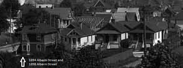 1894 Alberni Street and 1898 Alberni Street, 1907; detail from West End and Stanley Park views; Vancouver Public Library, VPL Accession Number 5447; https://www3.vpl.ca/spePhotos/LeonardFrankCollection/02DisplayJPGs/1054/5447.jpg.
