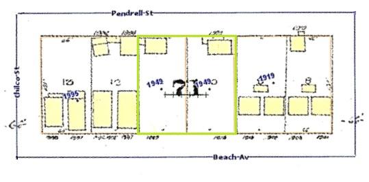 1900 Block Beach Avenue (north side); source: Vanmapp, City of Vancouver; http://vanmapp.vancouver.ca/pubvanmap_net/default.aspx. [Includes 1912 Goad's map of Vancouver and property addresses in 2019.]