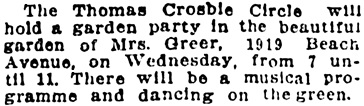 Vancouver Sun, June 25, 1922, page 11, column 4.